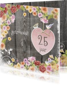 Felicitatiekaarten - felicitatie jubileum vogels hout