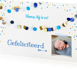 Felicitatiekaarten - Felicitatie kaart jongen slingers blauw