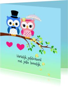 Felicitatiekaarten - Felicitatie met uilen-echtpaar