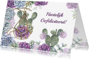 Felicitatiekaarten - Felicitatie vetplant aquarel