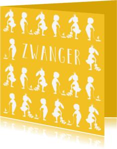 Felicitatiekaarten - Felicitatie zwanger silhouet geel - MW