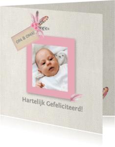 Felicitatiekaarten - Felicitatiegeboorte veren meisje