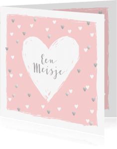 Felicitatiekaarten - Felicitatiekaart geboorte hartjes hip roze