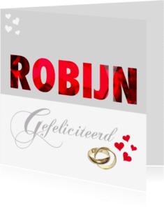 Felicitatiekaarten - Felicitatiekaart huwelijk Robijn