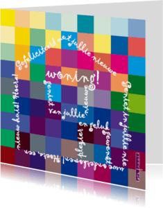Felicitatiekaarten - Felicitatietekst in vorm huis op kleuren