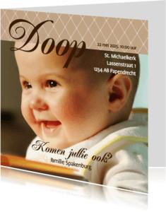 Doopkaarten - Foto 4kant Doop bruin - BK
