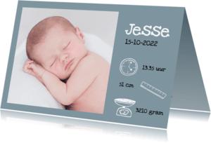 Geboortekaartjes - Foto geboortekaartje met icoontjes