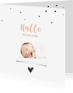 Geboortekaartjes - Foto geboortekaartje met stipjes en hart