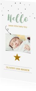 Geboortekaartjes - Fotokaartje met confetti en gouden ster