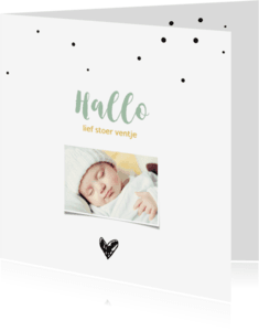 Geboortekaartjes - Fotokaartje met confetti en zwart hartje