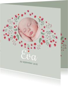Geboortekaartjes - Geboorte - bloemetjes voor meisje