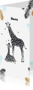 Geboortekaartjes - Geboorte Giraffebaby en moeder jongen