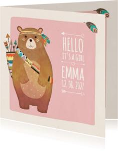 Geboortekaartjes -  Geboorte indiaan beer roze - BK