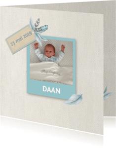 Geboortekaartjes - Geboorte jongen veren