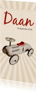 Geboortekaartjes - Geboorte loopwagen retro langwerpig - BK