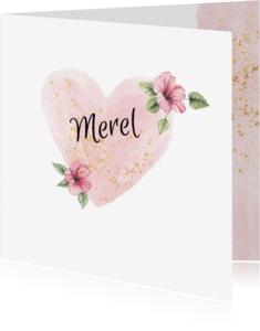 Geboortekaartjes - geboorte meisje aquarel bloem