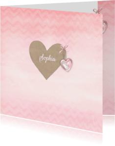 Geboortekaartjes - Geboorte meisje craft hart