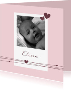 Geboortekaartjes - Geboorte - Meisje, foto, harten