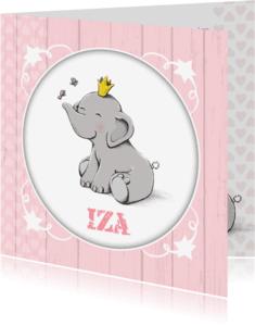 Geboortekaartjes - Geboorte olifant vlindertje - IH