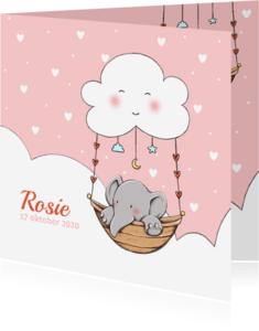 Geboortekaartjes - Geboorte olifantje wolk Rosie IH