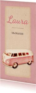 Geboortekaartjes -  Geboorte retro busje roze langwerpig - BK