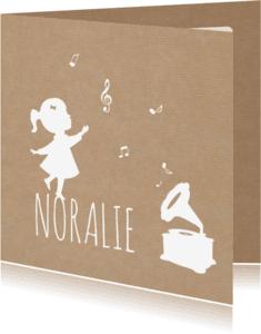 Geboortekaartjes - Geboorte Silhouet Muziek Kraft
