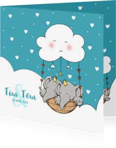 Geboortekaartjes - Geboorte tweeling Tim en Tom IH