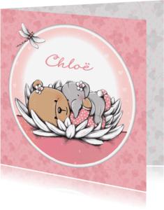 Geboortekaartjes - Geboortekaart beertje waterlelie