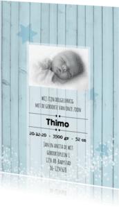 Geboortekaartjes - Geboortekaart blauw hout-jongen