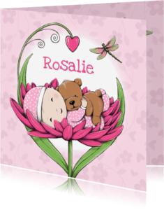 Geboortekaartjes - Geboortekaart bloem hartje - IH