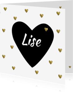 Geboortekaartjes - Geboortekaart gouden hartjes