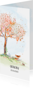 Geboortekaartjes - Geboortekaart hertje - herfstboom