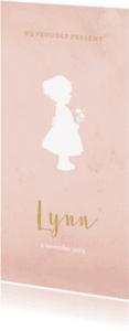 Geboortekaartjes - Geboortekaart langwerpig roze aquarel silhouet - BC