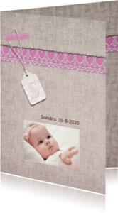 Geboortekaartjes - Geboortekaart roze linnen+label