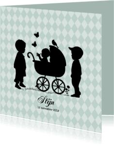 Geboortekaartjes - Geboortekaart silhouet broertjes av
