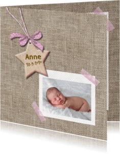 Geboortekaartjes - Geboortekaart ster voor meisje