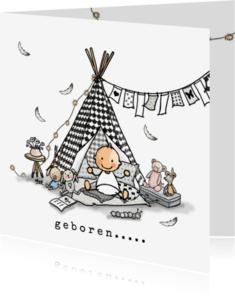 Geboortekaartjes - Geboortekaart Tipi zwartwit