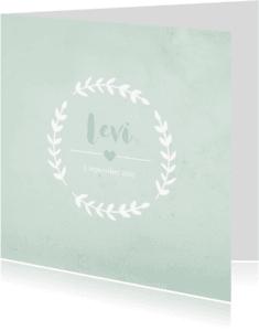 Geboortekaartjes - Geboortekaart vierkant rozet aquarel groen - BC