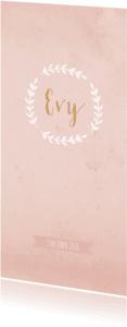 Geboortekaartjes - Geboortekaart waterverf langwerpig rozet roze - BC