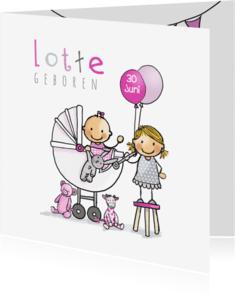 Geboortekaartjes - Geboortekaart zusje kinderwagen