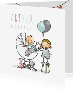 Geboortekaartjes - Geboortekaart zusje wagen baby j