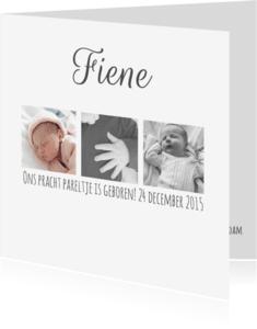 Geboortekaartjes - Geboortekaartje collage drieluik