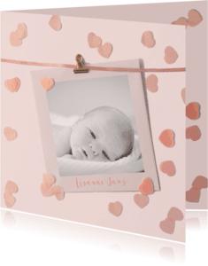 Geboortekaartjes - geboortekaartje confetti hartjes roze