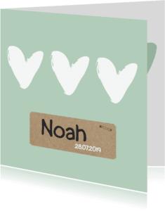 Geboortekaartjes - Geboortekaartje groen hartjes