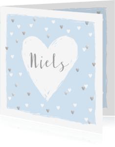 Geboortekaartjes - Geboortekaartje hartjes hip lichtblauw en zilver