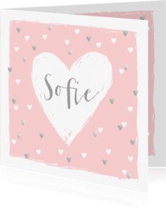 Geboortekaartjes - Geboortekaartje hartjes hip roze en zilver