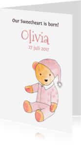 Geboortekaartjes - geboortekaartje illustratie beer meisje