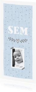 Geboortekaartjes - Geboortekaartje  jongen foto hartje grafisch Sem