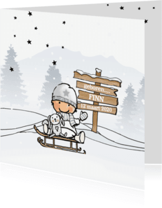 Geboortekaartjes - Geboortekaartje jongen winter av