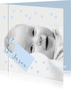 Geboortekaartjes - Geboortekaartje label hartjes foto lichtblauw